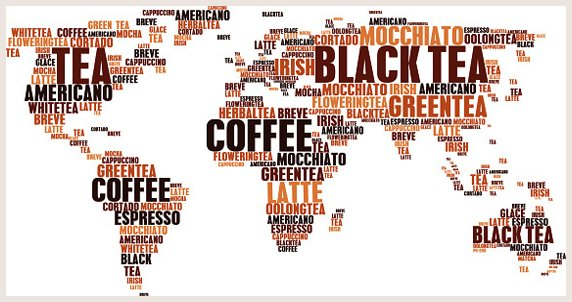 COFFEE AND TEA OR HOT DRINKS CLOUD TAGS WORDS IN WORLD MAP